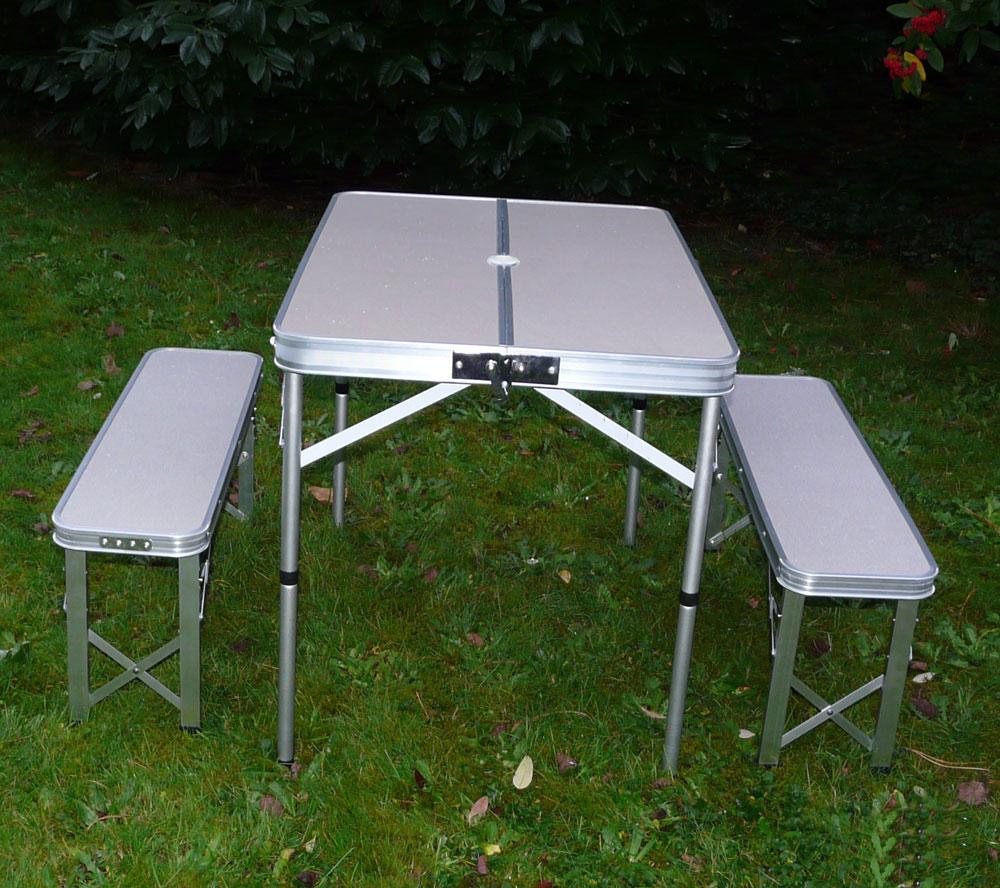 klapptisch campingtisch mit 2 siztb nke klappstuhl tisch koffertisch alutisch1 ebay. Black Bedroom Furniture Sets. Home Design Ideas