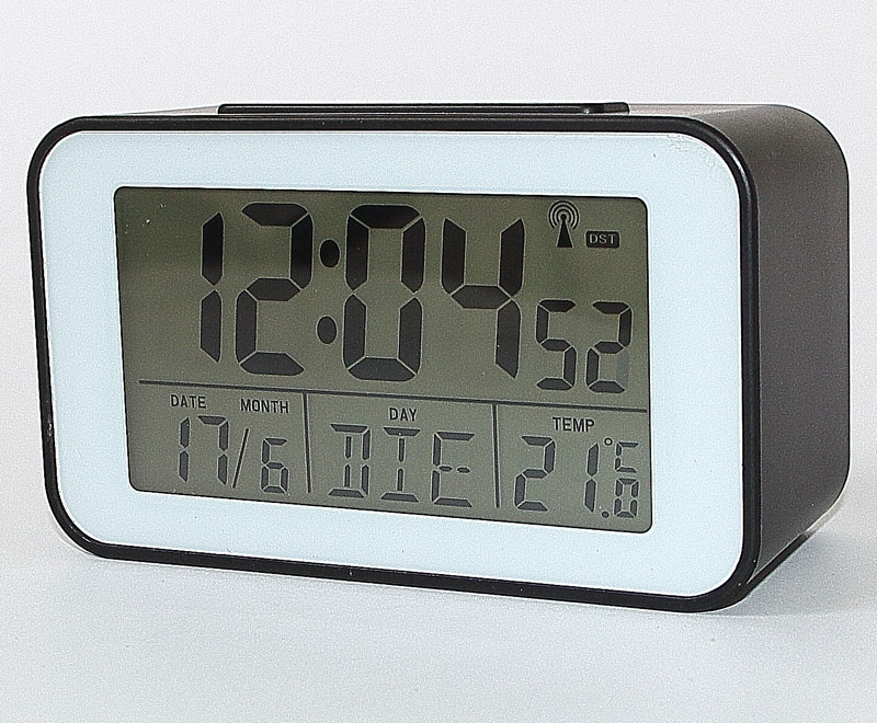 funkuhr mit thermometer funkwecker wecker tischuhr in schwarz nr sn4491 s ebay. Black Bedroom Furniture Sets. Home Design Ideas