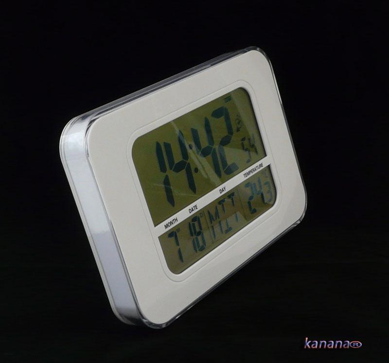 Funkuhr wanduhr und tischuhr mit thermometer funkwecker for Design funkuhr tisch