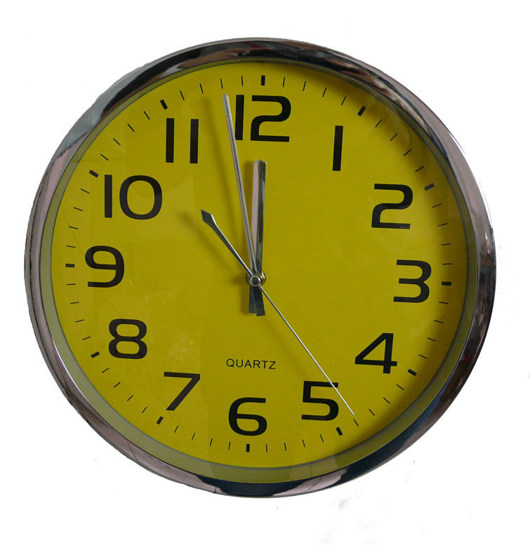 wall clock office kitchen clock aluminum housing js2015 yellow